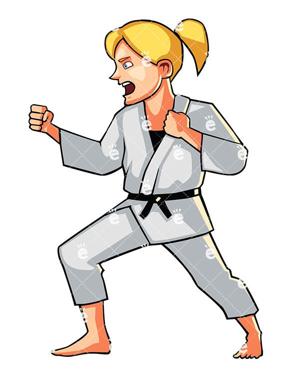 Shouting Young Woman Doing Karate Cartoon Vector Clipart Friendlystock Karate Martial Arts Karate Cartoons Vector