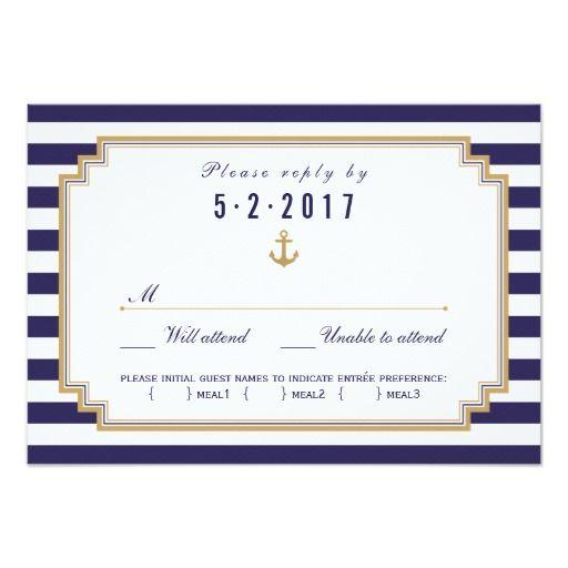 nautical wedding rsvp card meal choice