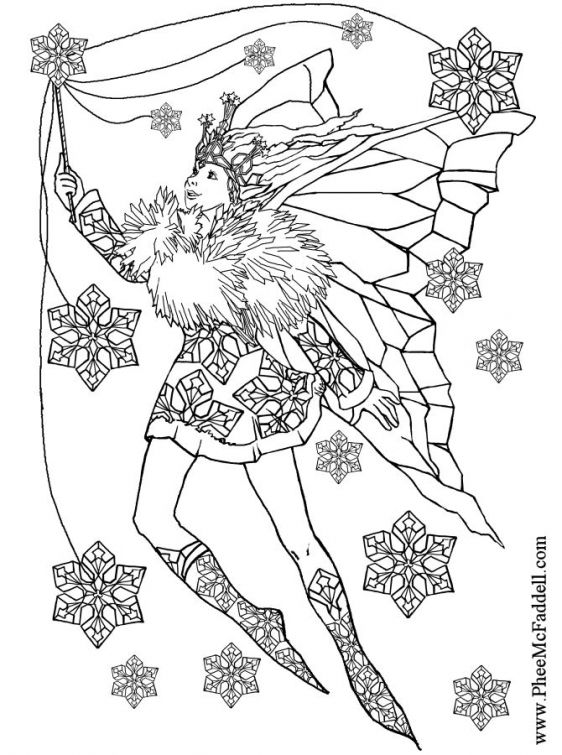 A Fairy And Snowflakes Difficult Coloring Page For Adults Letscolorit Com Fairy Coloring Pages Fairy Coloring Coloring Pages