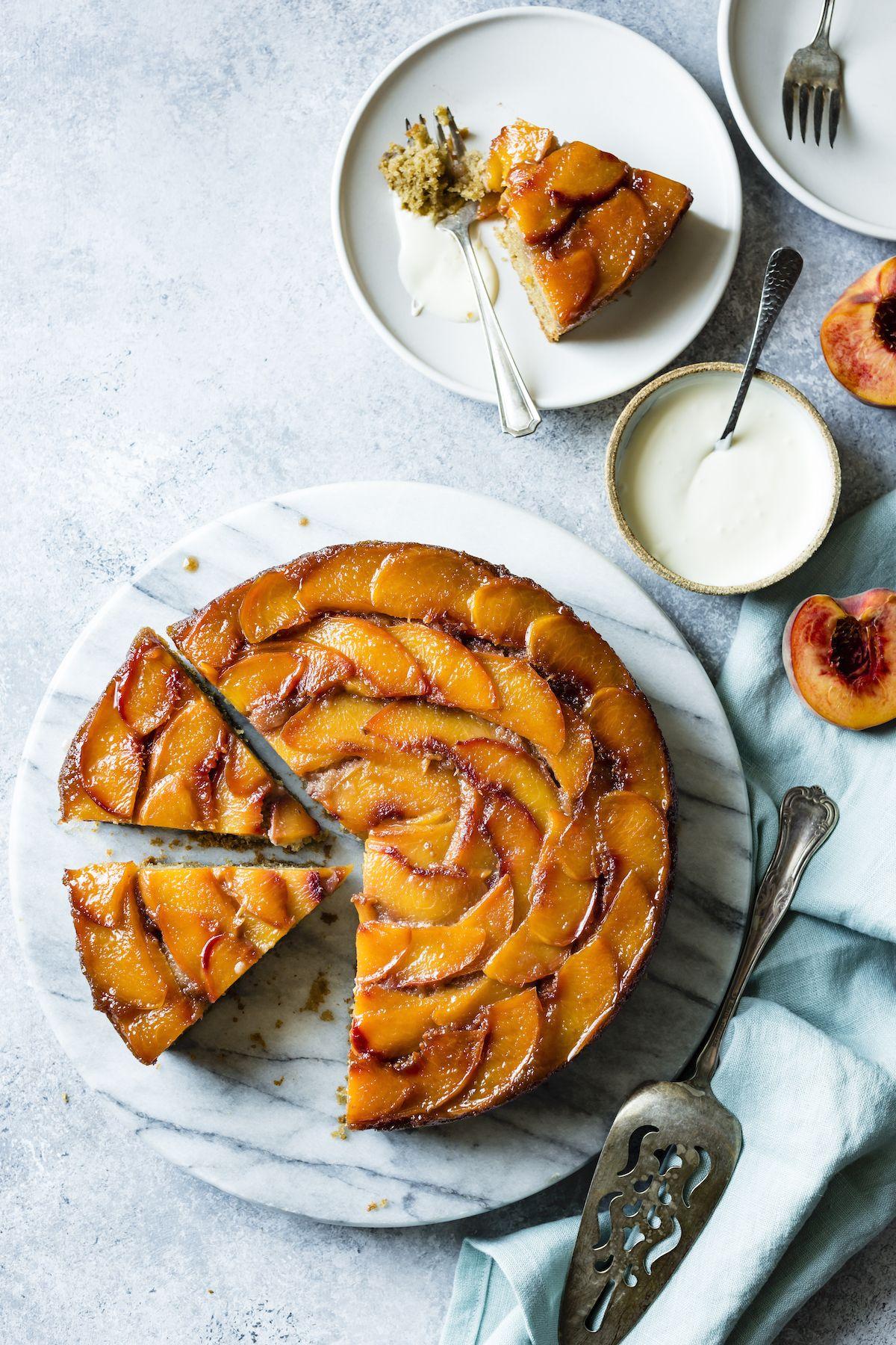 brown sugar peach upside down cake gluten free recipe recipe in 2020 peach upside down cake brown sugar peaches upside down cake pinterest