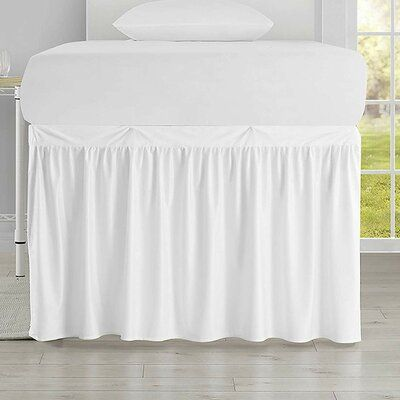 "House of Hampton Pinkston Luxury Plush Dorm 30"" Bed Skirt Color: White images"