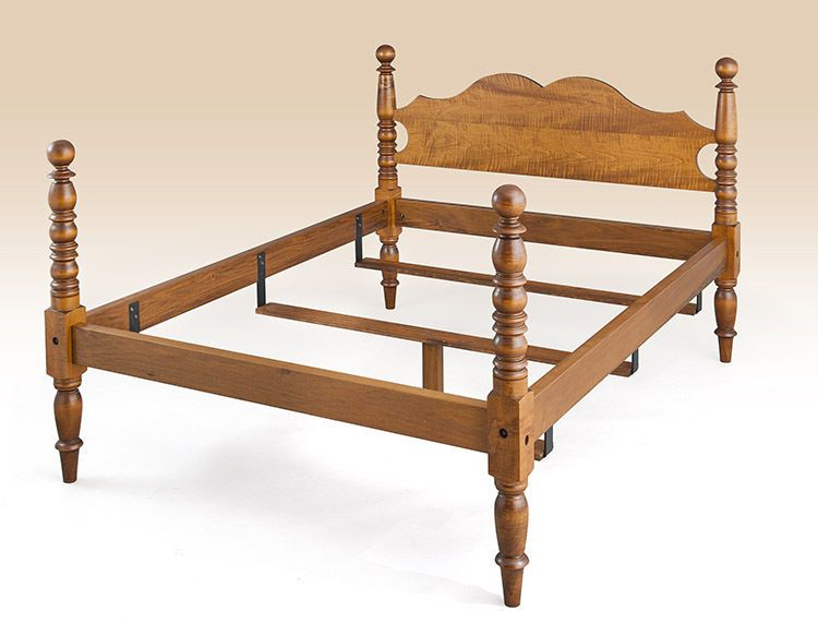 Cannonball Bed Tiger Maple Wood Queen Size Early