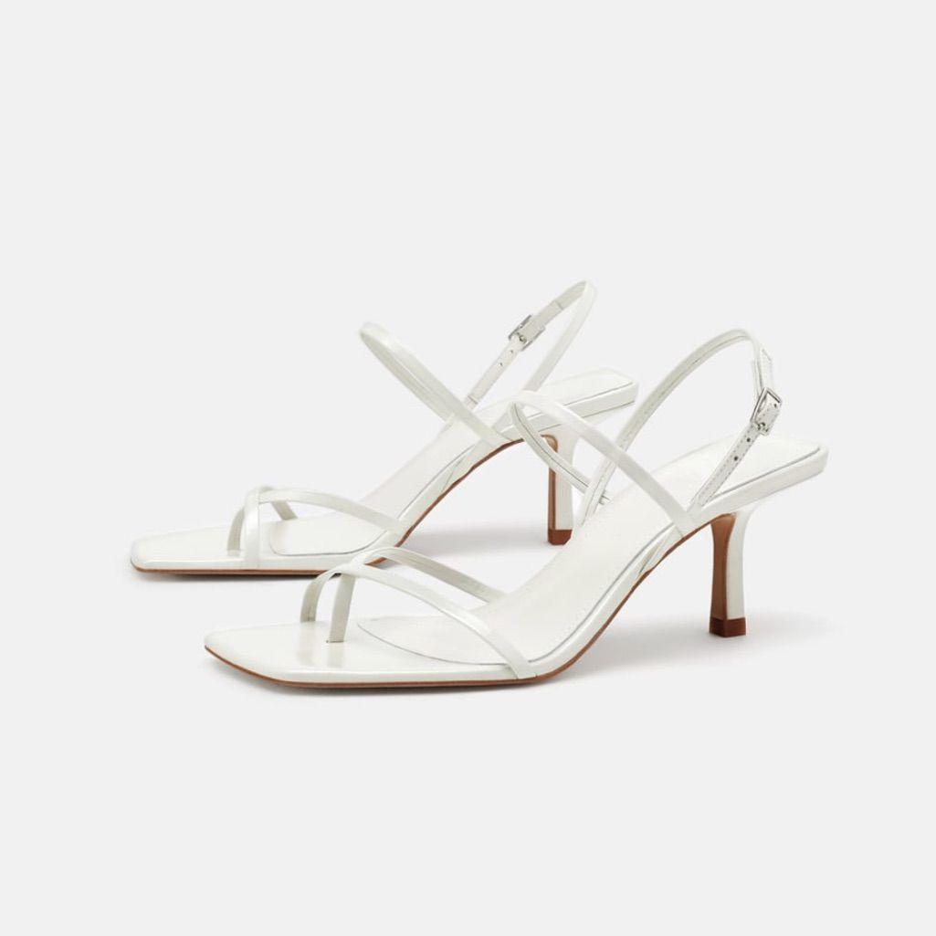 Zara Square Toe Kitten Heel Sandals Kitten Heel Sandals White Strappy Sandals Strappy Leather Sandals