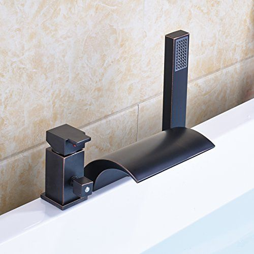 Rozin 3 Holes Deck Mounted Waterfall Spout Bathtub Faucet With