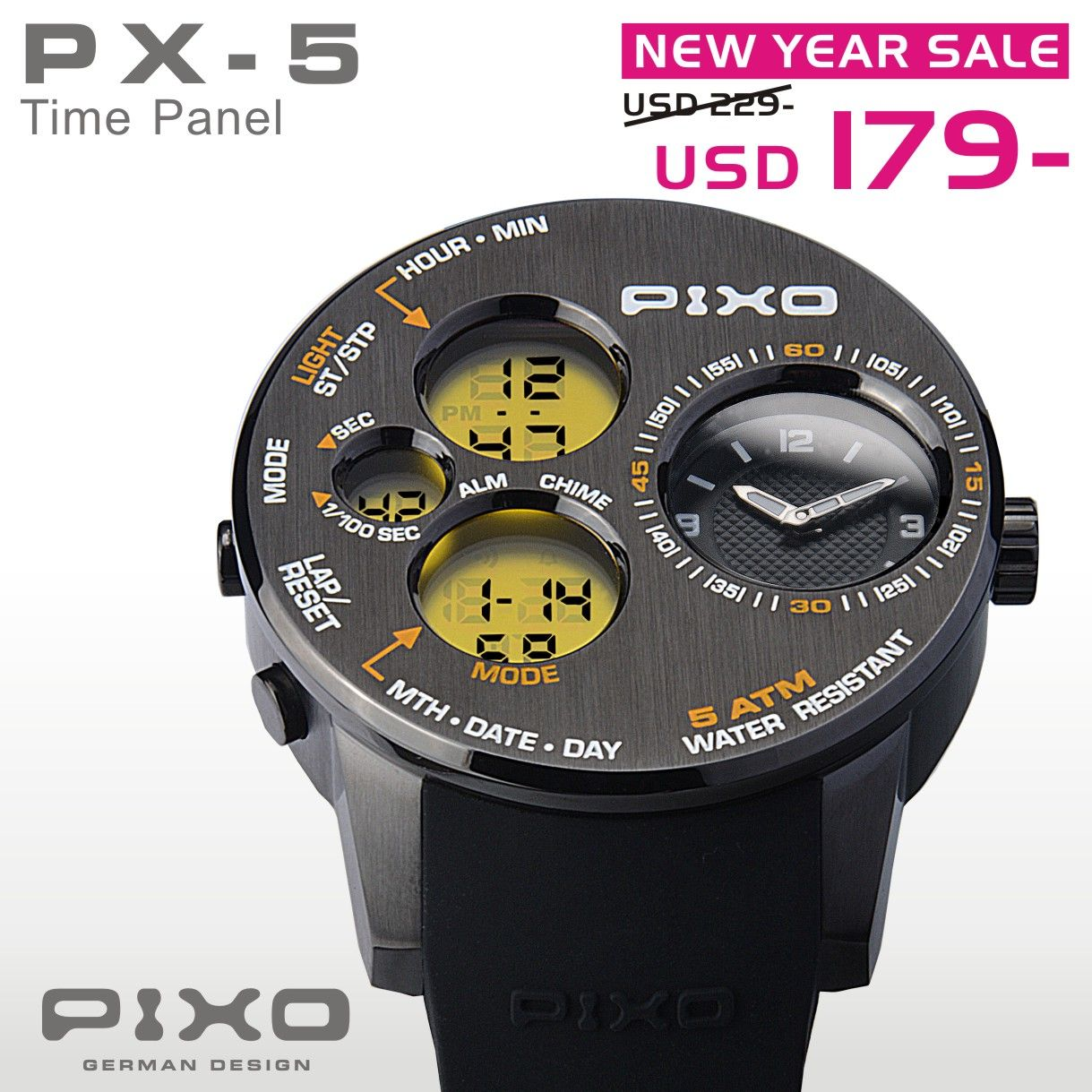 PX-5 TIME PANEL, Dual time display.  (COUPON CODE: PX5-179) Please see the details at : http://www.pixowatch.com/PIXO-PX-5