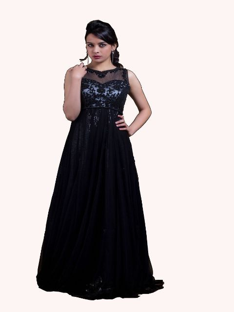 Net Designer Black Gown By Aashu Khan Womens Clothes Online India