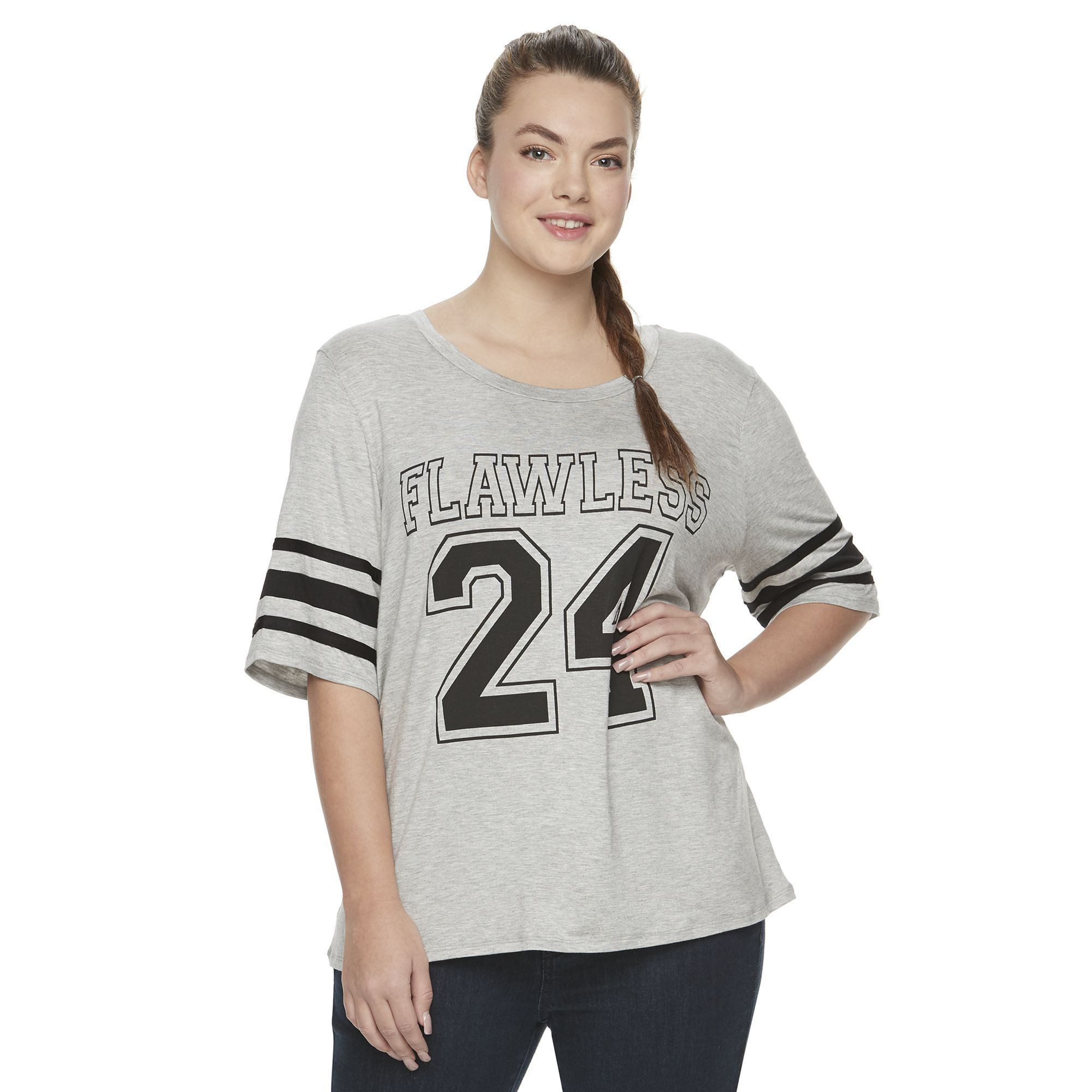 Juniors' Plus Size Starlet Football Graphic Tee, Girl's, Size: 1XL, Black