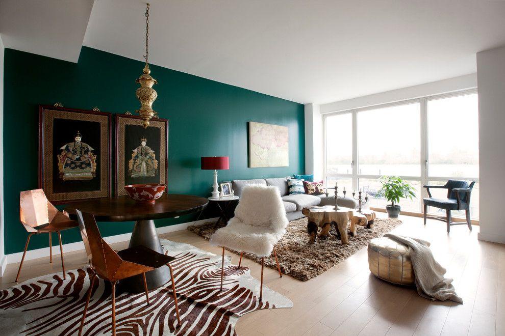 Contemporary Home Living Room Green Teal Emerald Walls Paint Zebra Rug Carpet Sheepskin Decor Daux Teal Living Rooms Green Walls Living Room Living Room Green #zebra #rug #in #living #room