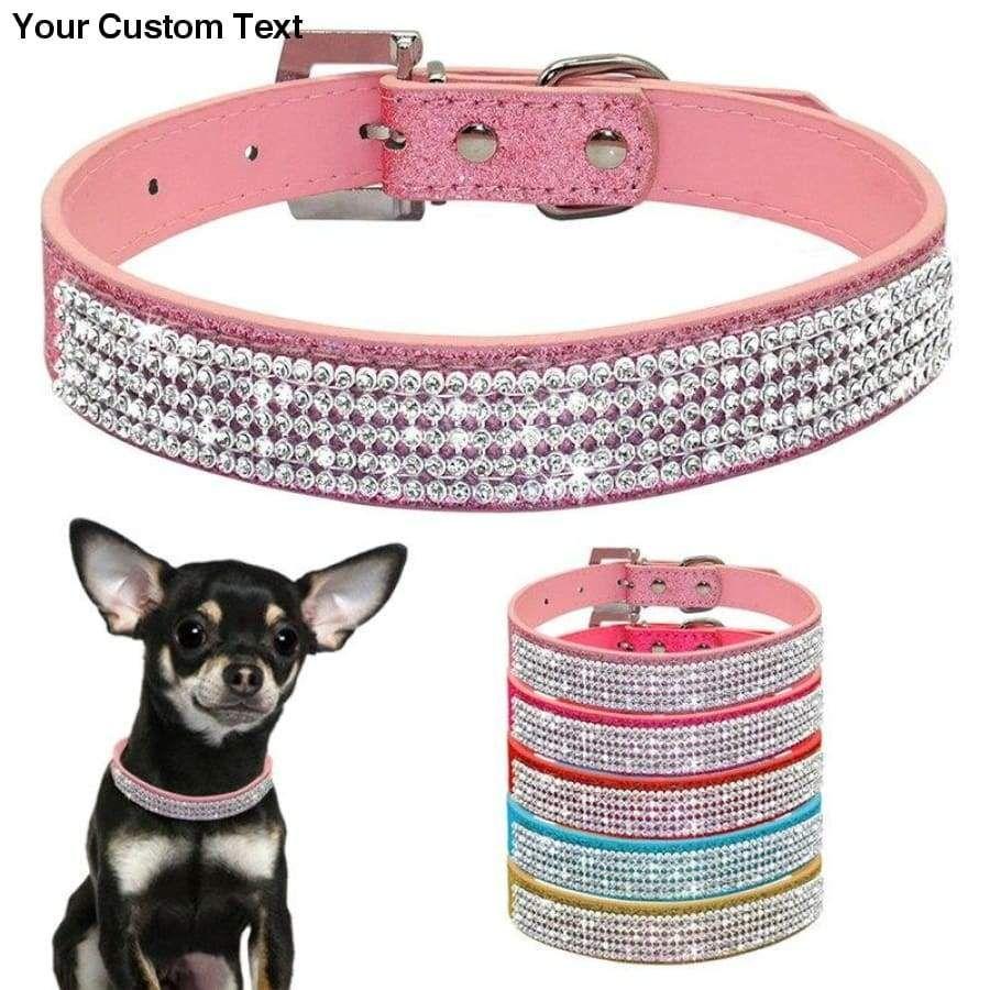 Bling Collar Rhinestone PU Leather Crystal Diamond Puppy Collar Pet Dog Collars Pets Supplies Dog Accessories