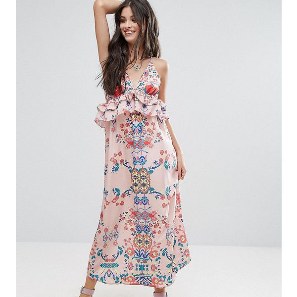 0f4abaffcaec White Cove Petite Frill Layered Maxi Dress In Bright Floral Print ( 30) ❤  liked on Polyvore featuring dresses