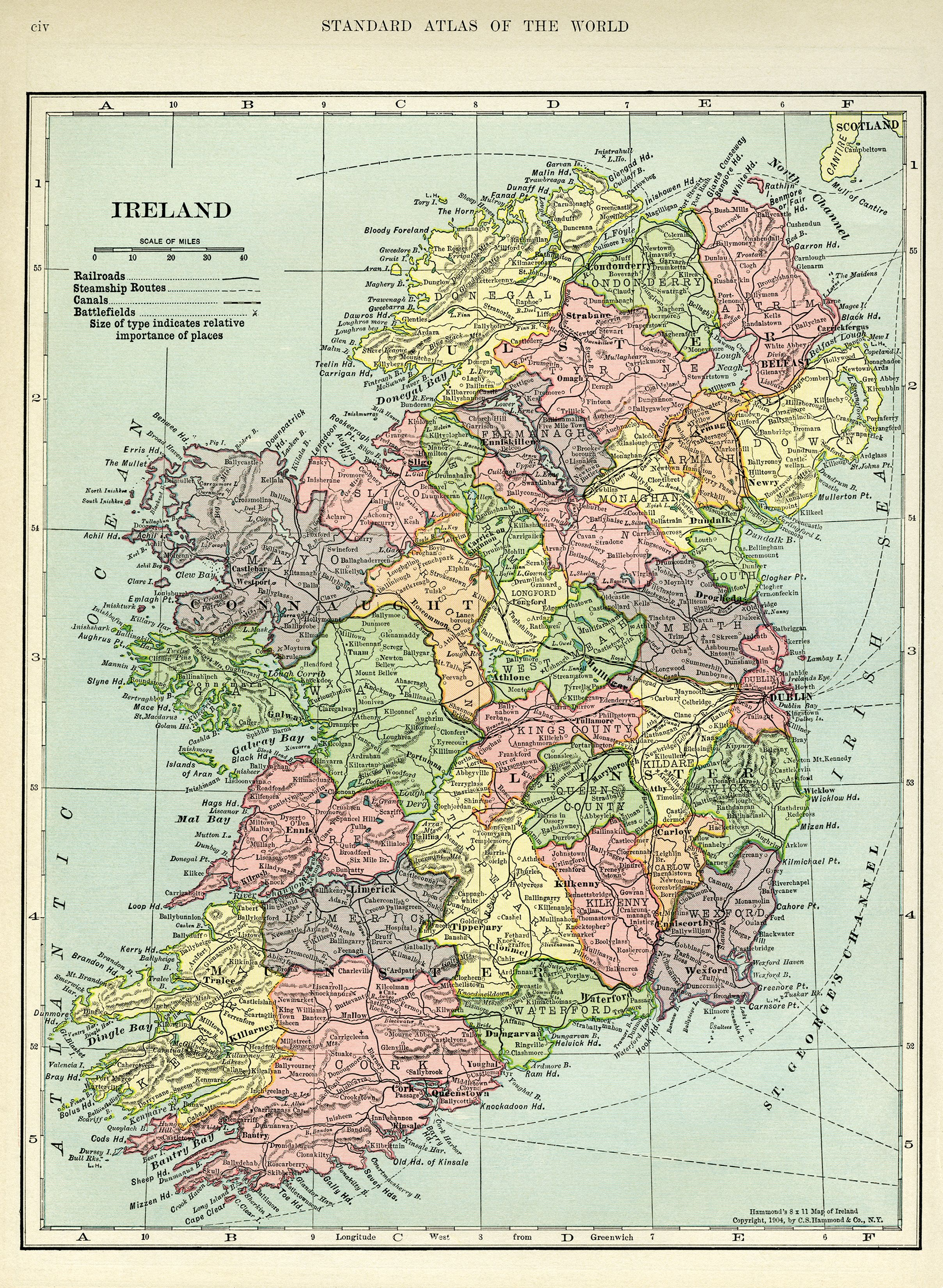 Map Of Ireland Download.Ireland Map Vintage Map Download Antique Map C S Hammond