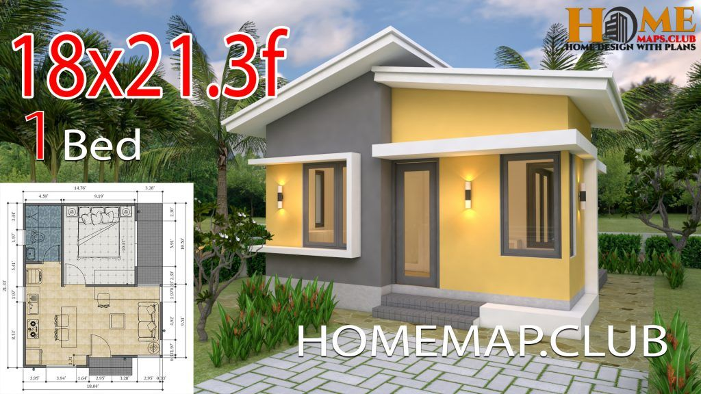 Small House Plans 5 5x6 5 With One Bedroom Hip Roof Small House Design Plans Small House Design House Plans