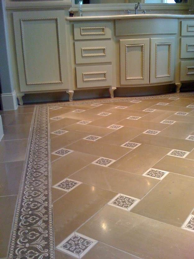 etched stone border and decos - basket weave bathroom floor - @ ADR