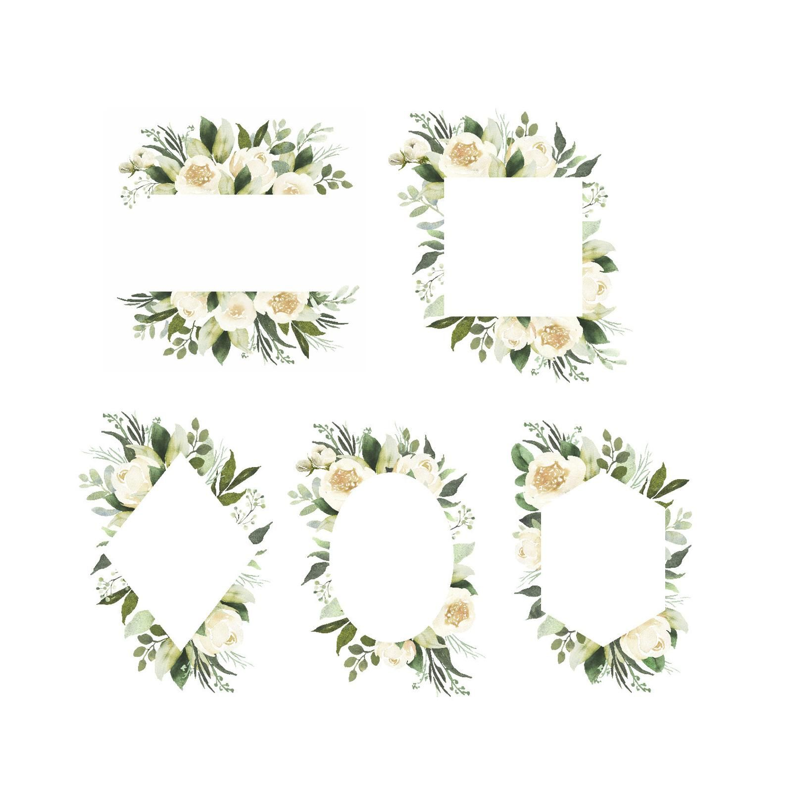 Adelaide Watercolor Clipart With White Roses And Eucalyptus Etsy Watercolor Clipart Flower Frame Floral Wreath Watercolor