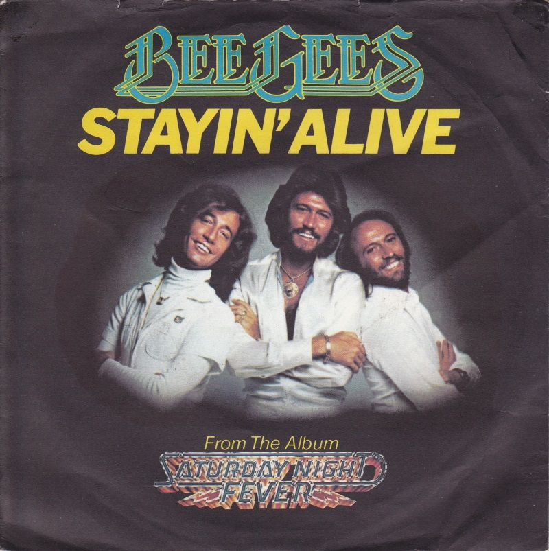 """7"""" Single on 45cat Bee Gees Stayin Alive / If I Can't"""