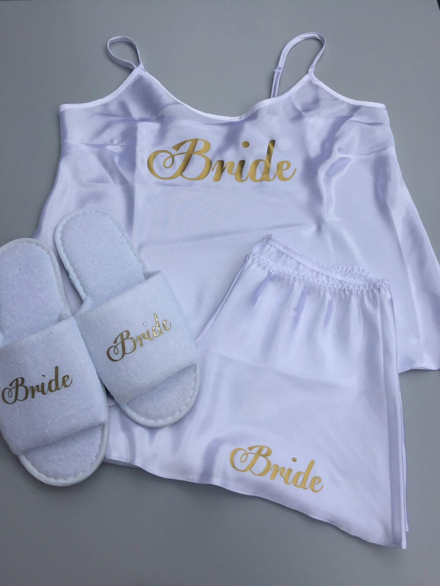 Bride Cami Set Bride Pajamas Wedding Pajamas Bride Gift Satin