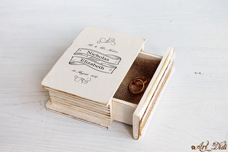 Creative Book Shaped Wedding Rings Holder Box Jewelry Holders