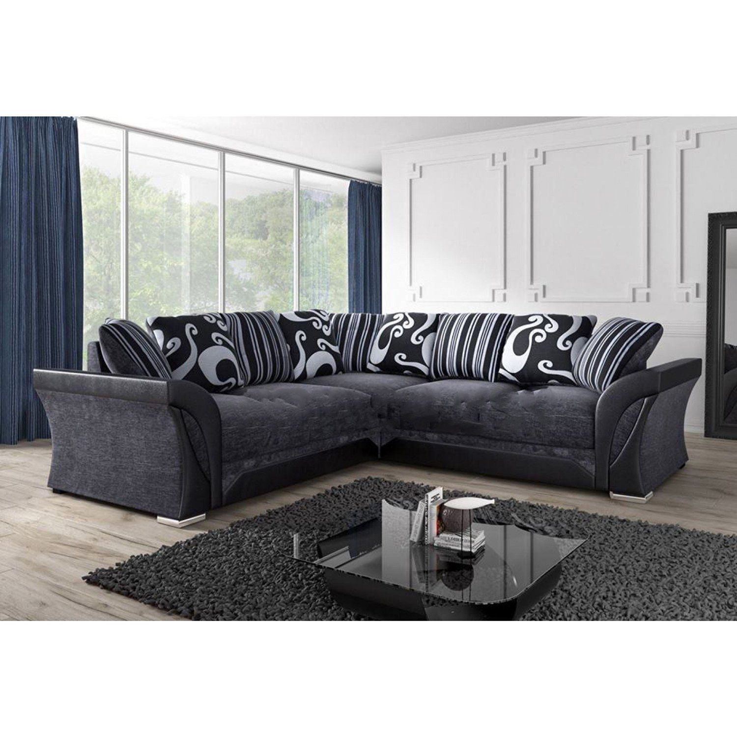Awesome New Farrow Leather Chenille Fabric Corner Sofa In Black Caraccident5 Cool Chair Designs And Ideas Caraccident5Info