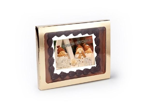 Chocolade Wenskaart Gelukkig Nieuwjaar. Stuur uw persoonlijke nieuwjaarsboodschap in chocolade. Gemaakt met top-kwaliteit Belgische chocolade van Callebaut. #chocolade #belgischechocolade #nieuwjaar