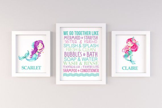 Mermaid Nursery Art, Mermaid Bathroom Decor, Mermaid Bathroom Art, Mermaid Decor, Mermaid Prints, Mermaid Collage, Sisters Bathroom #mermaidbathroomdecor