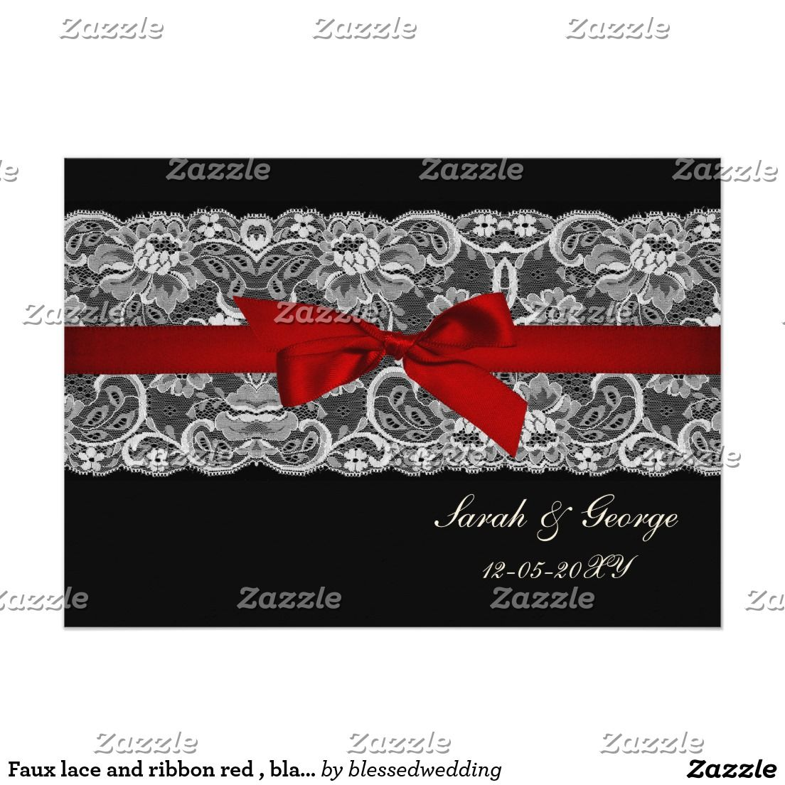 Faux lace and ribbon red , black wedding invites | *Lace Wedding ...