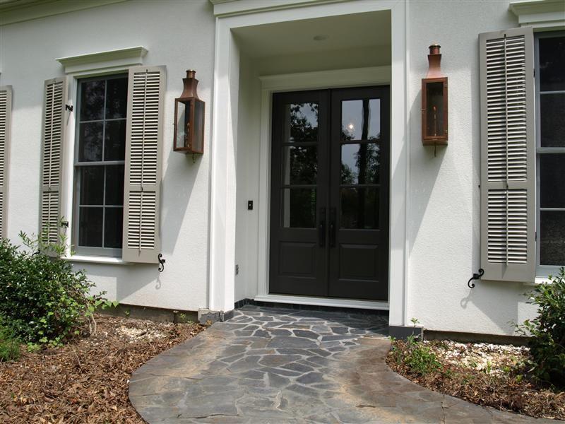 Spanish Cedar 3-light exterior front door with Marvin windows ...