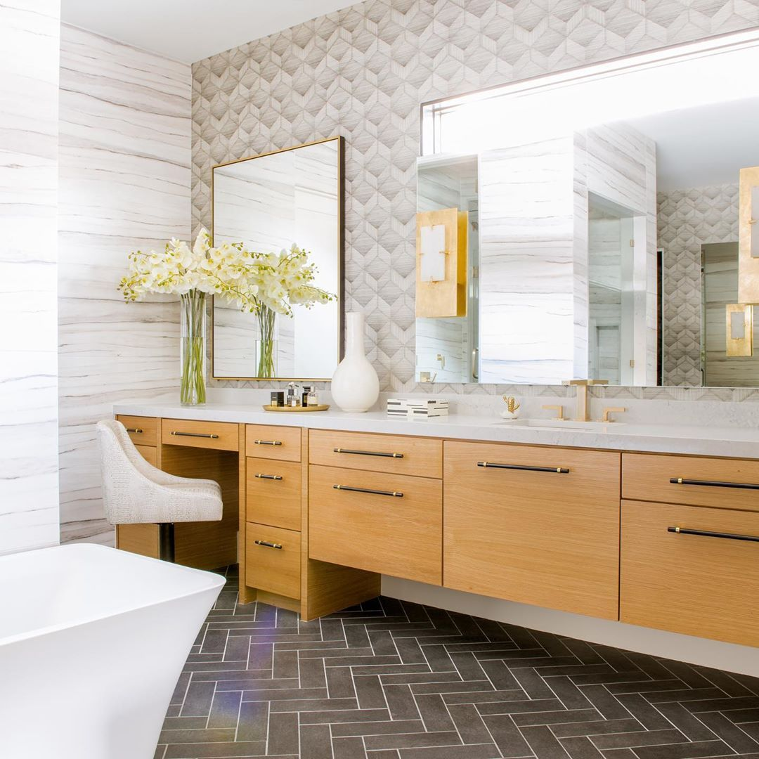 F A U L K N E R P E R R I N On Instagram Spa Like Bathroom Multiple Texture Styles From The Cabinets And Countertops Spa Like Bathroom Herringbone Floor