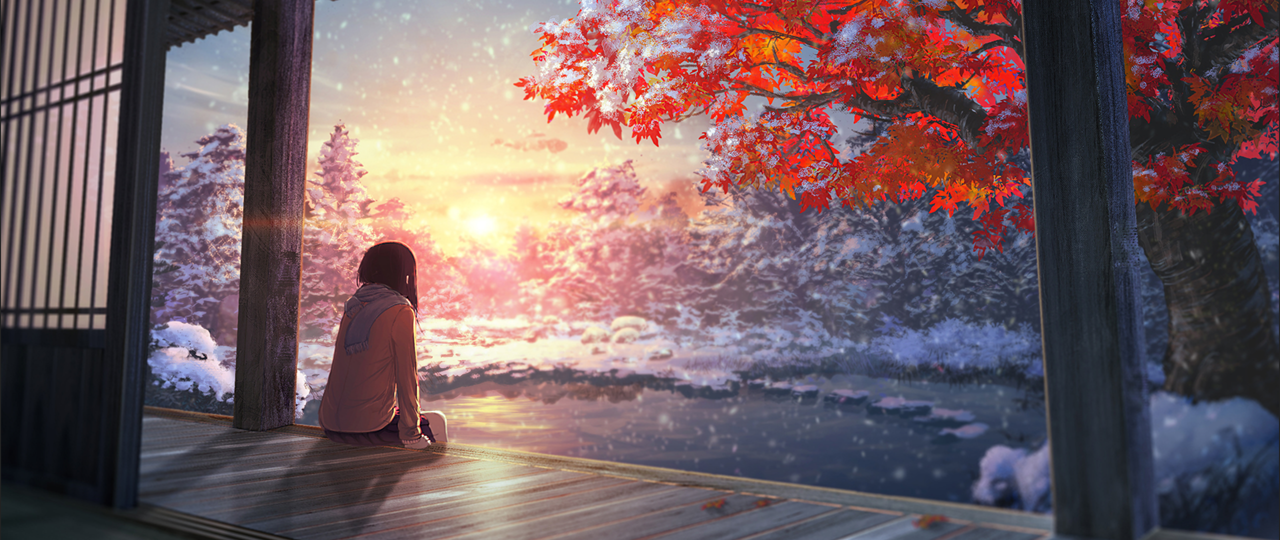 ultra wide, Japan, Anime girls, Artwork, Snow, Sunlight