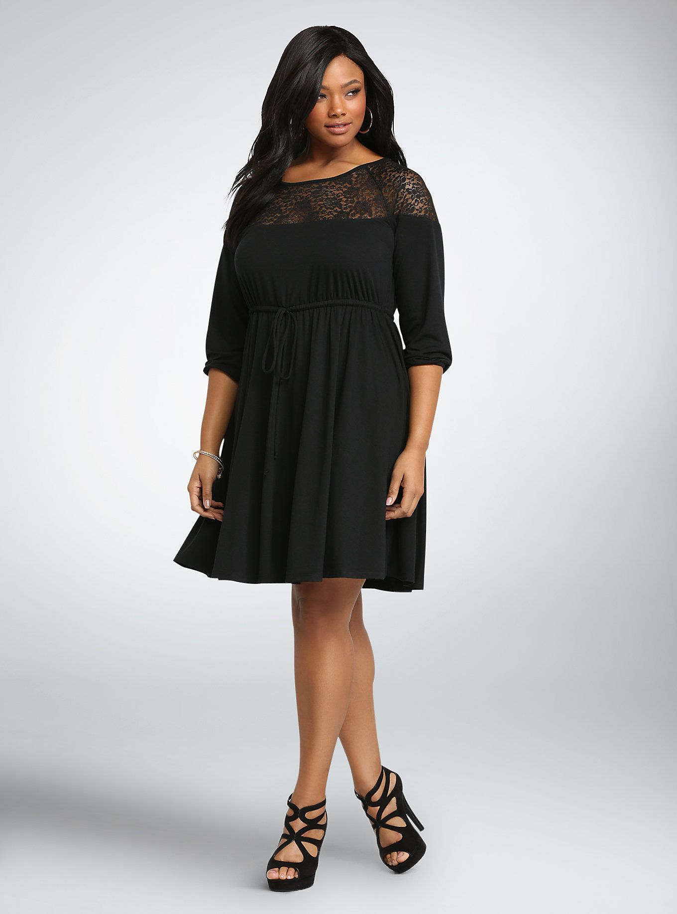 Lace Inset Tie Waist Skater Dress | Torrid, Lace inset and Clothes
