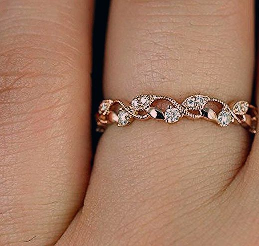 Photo of Rosados Box Daphine 14kt Rose Gold Thin Weaving Leaves Diamonds Berries Halfway Eternity Band