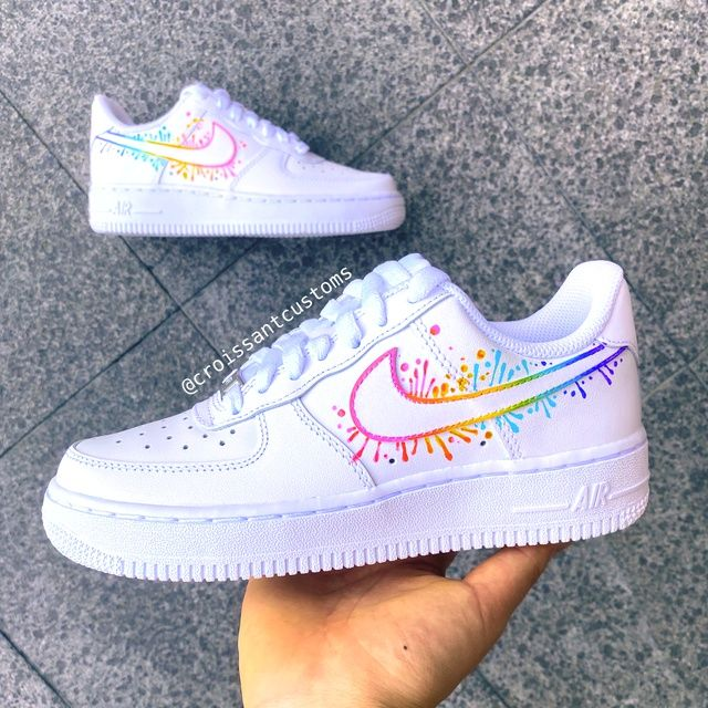 Rainbow Drip AF1 ???????? | THE CUSTOM MOVEMENT | Cute nike shoes ...