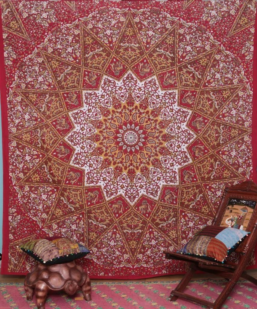 Hallucinatory Indian Star Wall Hanging with Floral