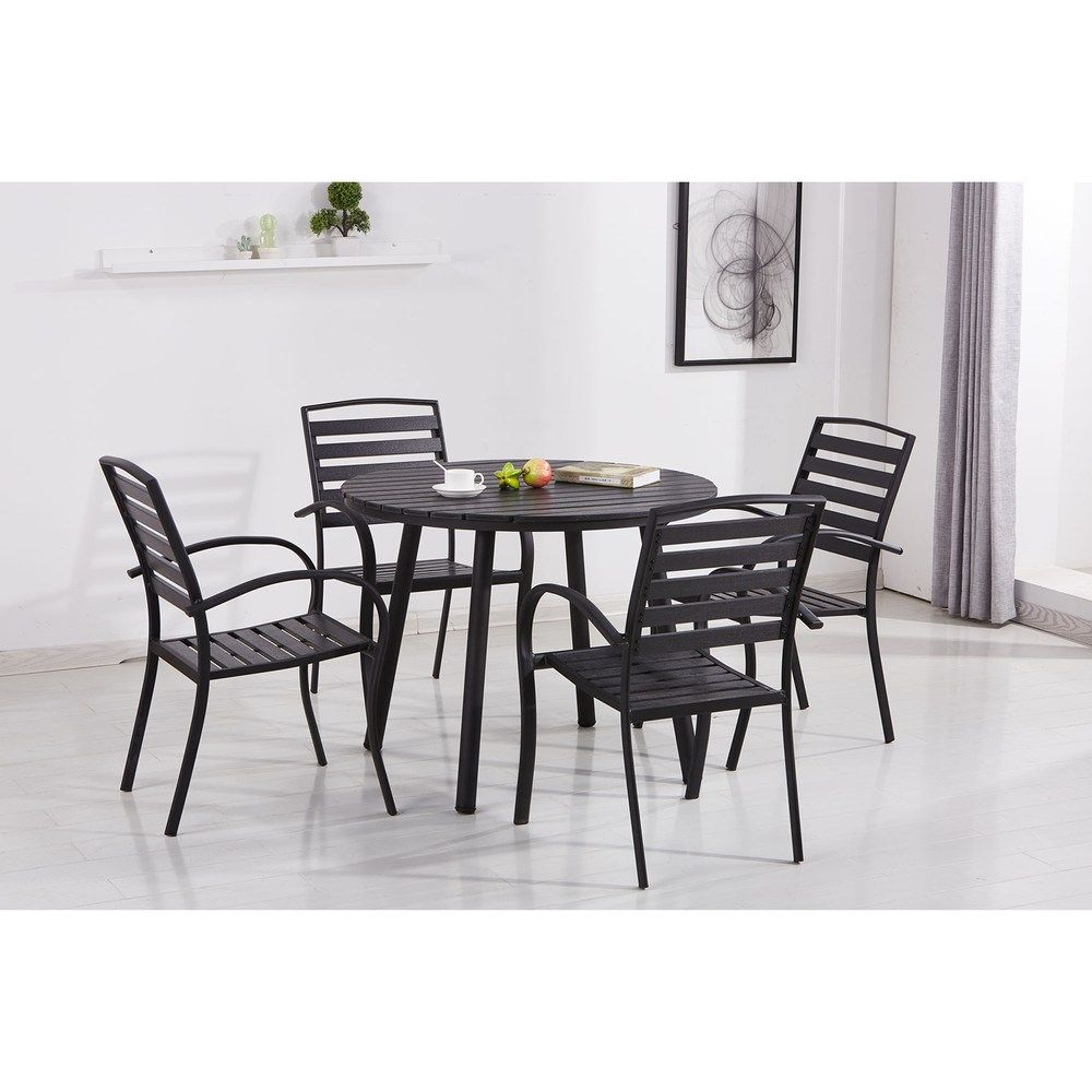 Indoor Outdoor Round Dining Table Slatted Stackable Chair 5