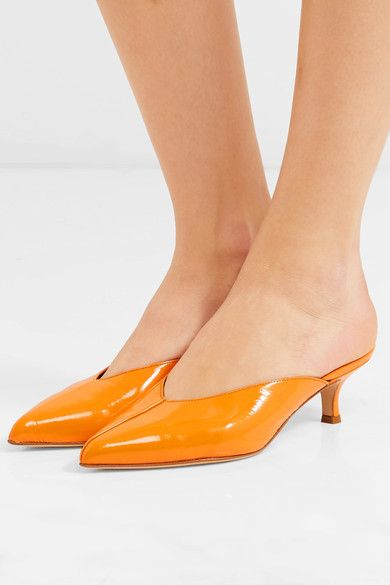 6ae6bb9276ef Tibi - Frank Patent-leather Mules - Orange