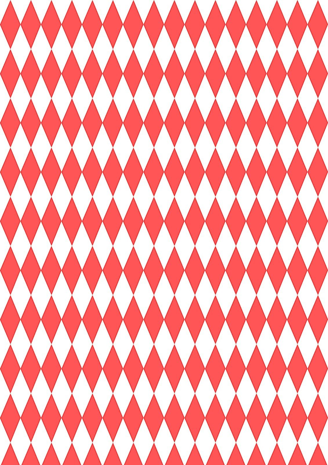 FREE printable red-white colored harlequin pattern paper ^^