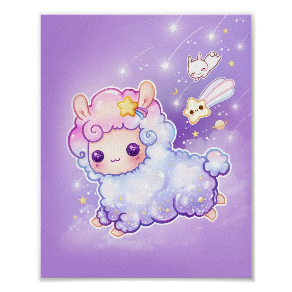 Cute Chibi Alpaca With Kawaii Shooting Star Poster Zazzle Com In 2020 Cute Animal Drawings Kawaii Cute Kawaii Drawings Kawaii Drawings