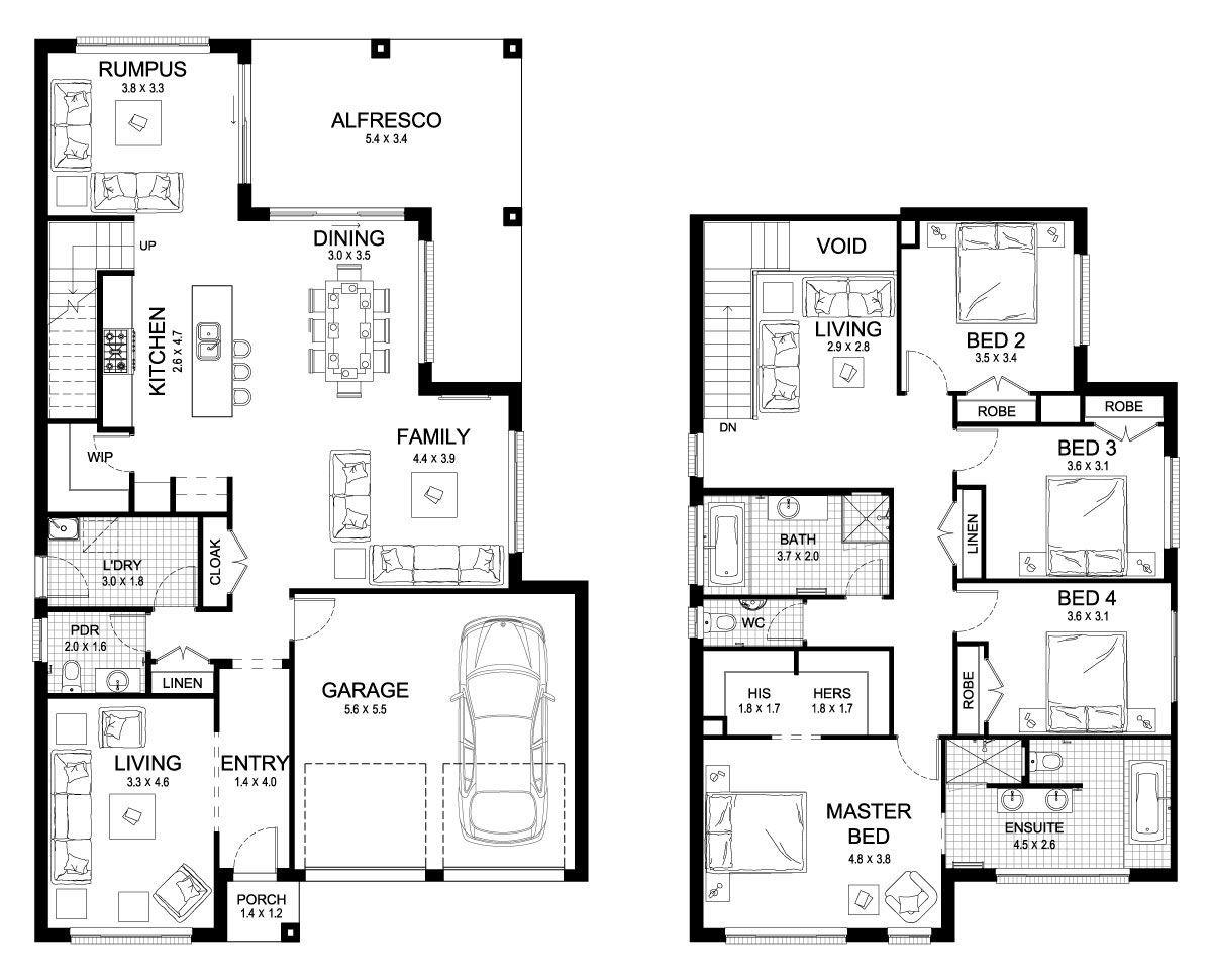 Riviera 33 Double Level Floorplan By Kurmond Homes New Home Builders Sydney Nsw House Plans Australia Double Storey House Plans House Layout Plans