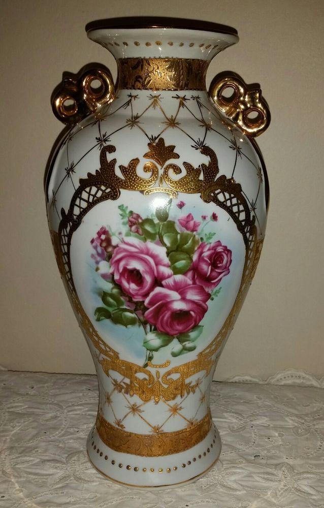 Salelimoges Francelarge Antique Vaseurn With Handlespink Roses