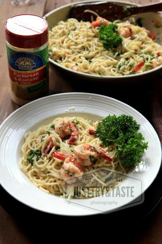 Spicy Aglio E Olio Dengan Udang Makan Malam Resep Pasta Makanan Sehat