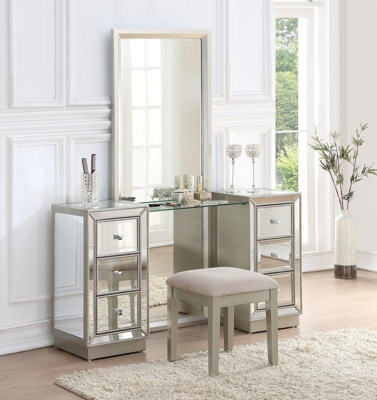 Best Claybrooks Storage Vanity Set With Mirror Bedroom Makeup 400 x 300