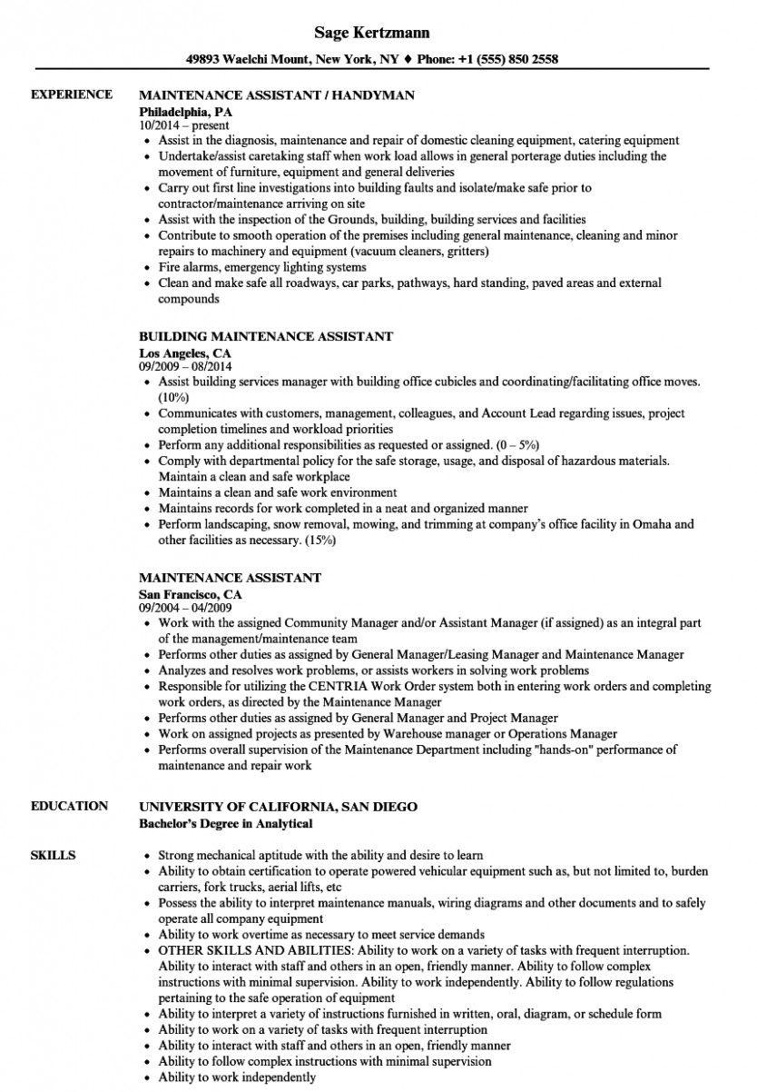 maintenance technician resume skills