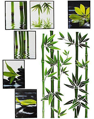 Set Fliesensticker Badezimmer Wandtattoo Eckig Wellness Spa Bambus Strauch Steine Sand Wasser Fliesen Fliesenaufkleber Bambus Kaufen Bambus