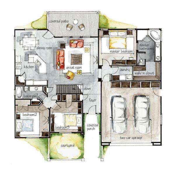 2d Home Design Pic: Real Estate Watercolor 2D Floor Plans Part 3 On Behance