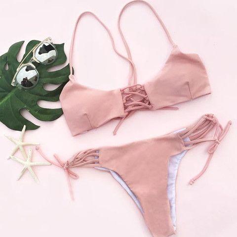 eee5eee1387 Cupshe Sweet Peach Lace Up Bikini Set | The Style I Wish I Could ...