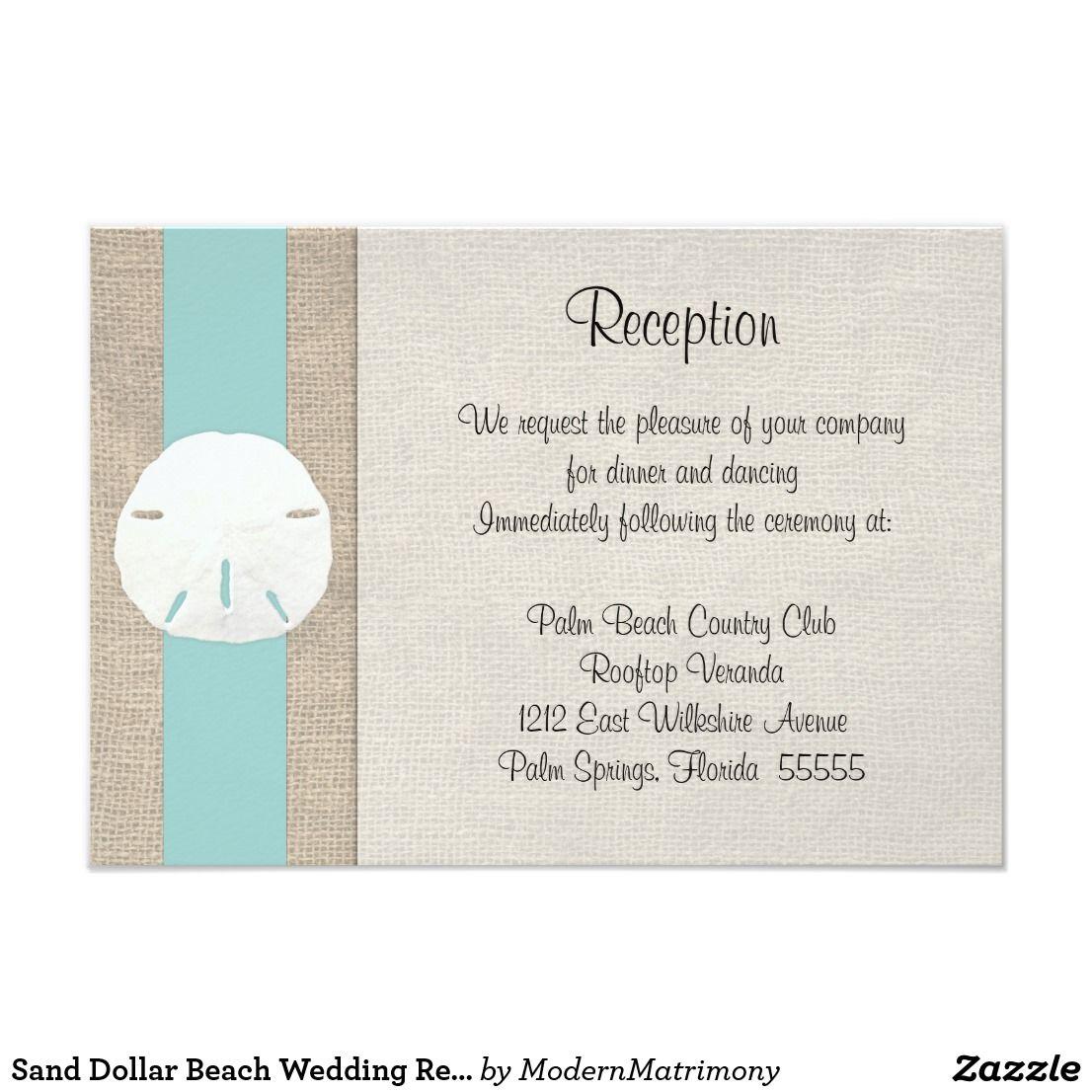 Sand Dollar Beach Wedding Reception Invitation Car | Beach Wedding ...
