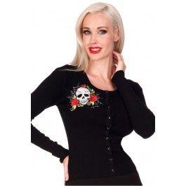 Webbed Skull Embroidery Cardigan - Black