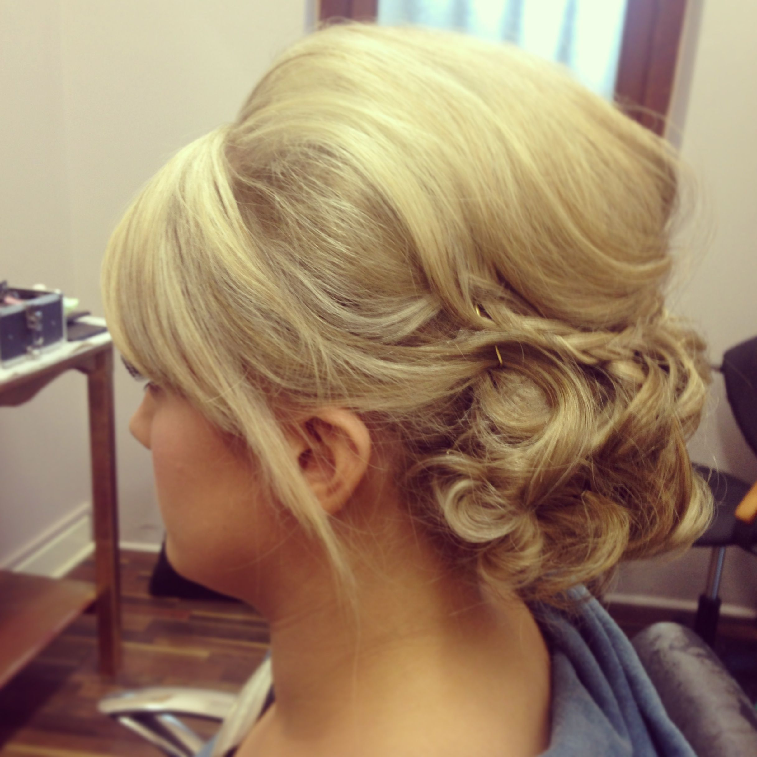 blonde soft curled upstyle with braids | wedding hairstyles