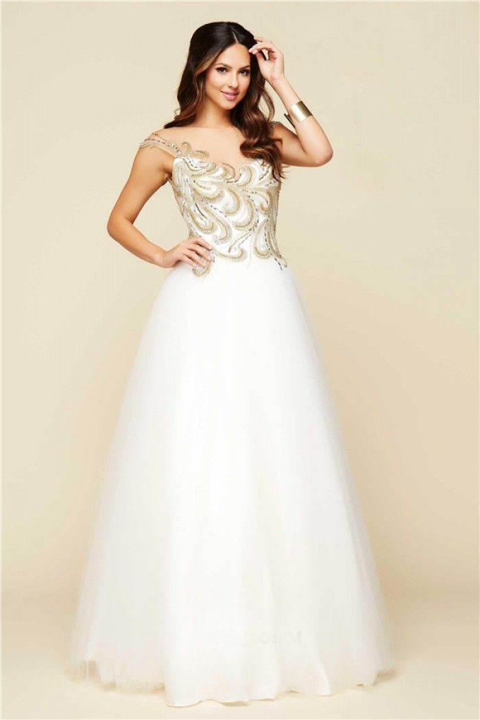 A Line Illusion Neckline Open Back White Tulle Gold Beaded Prom ...