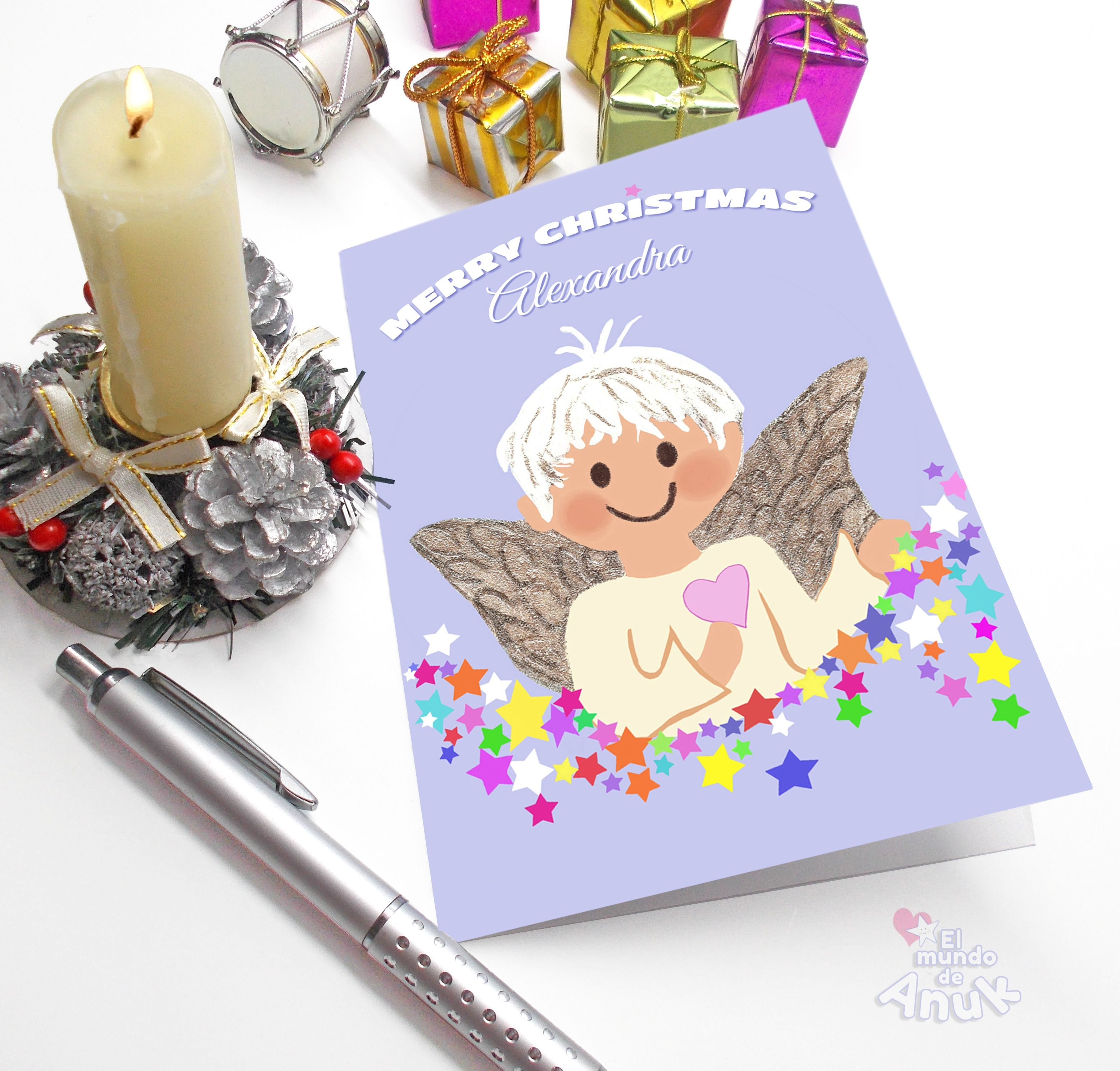 Little Angel Christmas Card Children Christmas Card Holiday Cards