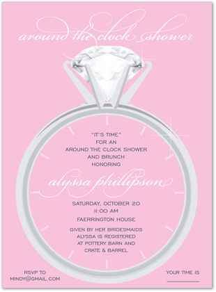 Clock bridal shower invitations solitaire pink around the clock clock bridal shower invitations solitaire pink around the clock 23285 filmwisefo Images